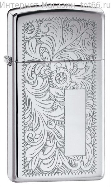 Зажигалка ZIPPO Slim® Venetian® с покрытием High Polish Chrome, латунь/сталь, 30x10x55 мм. Арт.  1652