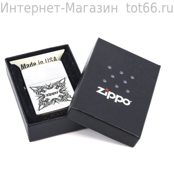 Зажигалка ZIPPO Tattoo Design, с покрытием Satin Chrome™, латунь/сталь, серебристая, 36x12x56 мм. Арт.  205 Tattoo Design